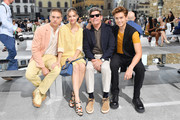 (L-R) Dylan Sprouse, Barbara Palvin, Matthew Sprouse and Cole Sprouse attend the Salvatore Ferragamo show during Pitti Immagine Uomo 96 on June 11, 2019 in Florence, Italy.