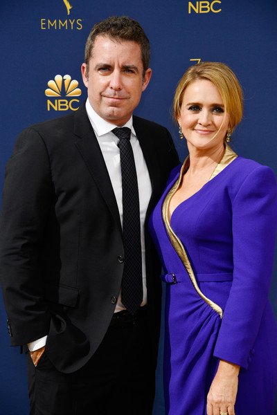 70th Emmy Awards - Arrivals [suit,formal wear,event,electric blue,tuxedo,premiere,white-collar worker,smile,arrivals,jason jones,samantha bee,emmy awards,microsoft theater,los angeles,california,l,70th emmy awards]
