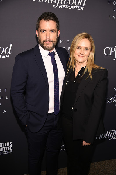 The Hollywood Reporter's 9th Annual Most Powerful People In Media - Arrivals [the hollywood reporter,suit,formal wear,tuxedo,fashion,event,premiere,white-collar worker,tie,people,samantha bee,jason jones,arrivals,media,new york city,the pool,hollywood reporter]
