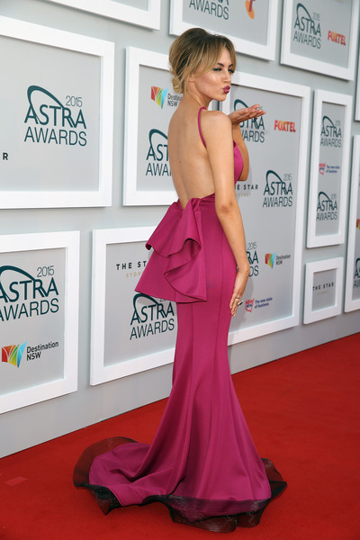 Arrivals at the ASTRA Awards [red carpet,dress,clothing,carpet,shoulder,gown,strapless dress,premiere,hairstyle,pink,arrivals,samantha jade,sydney,australia,astra awards,the star]