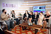 "(L-R) Hosts Lon Harris and Shira Lazar, ""Un-Real"" executive producer Sarah Gertrude Shapiro, actors Shiri Appleby, Freddie Stroma, and Constance Zimmer, and executive producer Marti Noxon speak onstage at What's Trending Live in the Samsung Blogger Lounge during SXSW 2015 on March 16, 2015 in Austin, Texas."