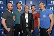 (L-R) Musicians Will Champion, Jonny Buckland, President/CEO of The Recording Academy and The GRAMMY Foundation Neil Portnow, musicians Guy Berryman and Chris Martin attend Coldplay in Concert presented by Samsung AT&T Summer Krush 2011 benefitting the GRAMMY Foundation and its music education programs for high school students and schools. More info at grammyintheschools.com. Held at UCLA Tennis Center on August 3, 2011 in Westwood, California.