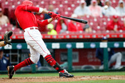 Joey Votto #19 of the Cincinnati Reds hits a grand slam in the second inning against the San Diego Padres at Great American Ball Park on September 8, 2018 in Cincinnati, Ohio.