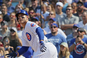 Anthony Rizzo #44 of the Chicago Cubs gets a pinch hit, run scoring single in the 7th inning against the San Diego Padres at Wrigley Field on August 5, 2018 in Chicago, Illinois.