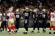 Jimmy Graham #80 of the New Orleans Saints reacts to a first down late in the fourth quarter during a game against the San Francisco 49ers at the Mercedes-Benz Superdome on November 9, 2014 in New Orleans, Louisiana.