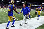 Tavon Austin #11 of the St. Louis Rams is congratulated by head coach Jeff Fisher in the fourth quarter against the San Francisco 49ers at the Edward Jones Dome on November 1, 2015 in St. Louis, Missouri.