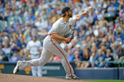Madison Bumgarner #40 of the San Francisco Giants pitches against the Milwaukee Brewers during the second inning at Miller Park on September 9, 2018 in Milwaukee, Wisconsin.