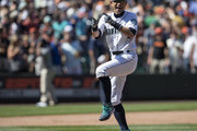 Ichiro Suzuki #51 of the Seattle Mariners jokes around on the pitcher's mound after a game against the San Francisco Giants at Safeco Field on July 25, 2018 in Seattle, Washington. The Mariners won the game 3-2.