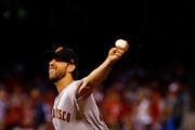 Madison Bumgarner #40 of the San Francisco Giants pitches against the St. Louis Cardinals in the first inning at Busch Stadium on September 21, 2018 in St. Louis, Missouri.