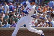 Anthony Rizzo #44 of the Chicago Cubs hits an RBI double in the 1st ining against the San Francisco Giants at Wrigley Field on May 25, 2018 in Chicago, Illinois.