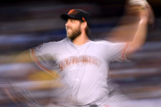 Madison Bumgarner #40 of the San Francisco Giants pitches during the third inning against the Los Angeles Dodgers during the first inning at Dodger Stadium on August 13, 2018 in Los Angeles, California.