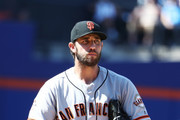 Madison Bumgarner #40 of the San Francisco Giants looks on against the New York Mets during their game at Citi Field on August 23, 2018 in New York City.