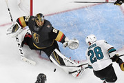 Marc-Andre Fleury #29 of the Vegas Golden Knights defends the net against Timo Meier #28 of the San Jose Sharks in the first overtime period of Game Six of the Western Conference First Round during the 2019 NHL Stanley Cup Playoffs at T-Mobile Arena on April 21, 2019 in Las Vegas, Nevada. The Sharks defeated the Golden Knights 2-1 in double overtime to even the series at 3-3.