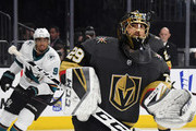 Evander Kane #9 of the San Jose Sharks looks on as Marc-Andre Fleury #29 of the Vegas Golden Knights makes a save in the third period of Game Six of the Western Conference First Round during the 2019 NHL Stanley Cup Playoffs at T-Mobile Arena on April 21, 2019 in Las Vegas, Nevada. The Sharks defeated the Golden Knights 2-1 in double overtime to even the series at 3-3.