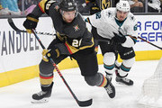 Paul Stastny #26 of the Vegas Golden Knights skates with the puck against Kevin Labanc #62 of the San Jose Sharks in the third period of Game Six of the Western Conference First Round during the 2019 NHL Stanley Cup Playoffs at T-Mobile Arena on April 21, 2019 in Las Vegas, Nevada. The Sharks defeated the Golden Knights 2-1 in double overtime to even the series at 3-3.