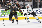 Max Pacioretty #67 of the Vegas Golden Knights gets away from Timo Meier #28 of the San Jose Sharks to score a short-handed goal in the second period of their preseason game at T-Mobile Arena on September 30, 2018 in Las Vegas, Nevada. The Golden Knights defeated the Sharks 5-2.