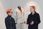 """Tilda Swinton and Sandy Powell attend the """"Sandy Powell Derek Jarman Suit"""" Private View at Phillips Auction House on March 04, 2020 in London, England."""