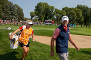 Steve Stricker leaves the 9th hole in the final round of the Sanford International at Minnehaha Country Club on September 23, 2018 in Sioux Falls, South Dakota.