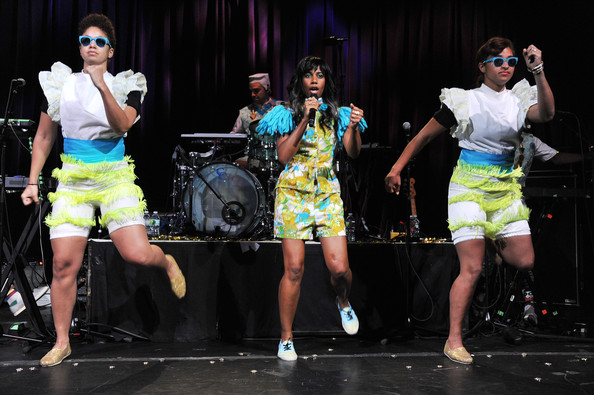 Santigold Musician Santigold (C) performs at Samsung Mobile USA's 5MM Fans Appreciation Performance By Santigold Plus Special Guests on May 14, 2012 in New York City.
