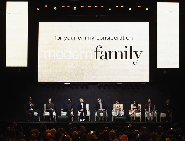 FYC Event For ABC's 'Modern Family' - Inside [modern family,projection screen,text,projector accessory,event,stage,technology,display device,stage equipment,font,electronic device,steven levitan,danny zuker,actors,eric stonestreet,sarah hyland,l-r,abc,fyc,event]
