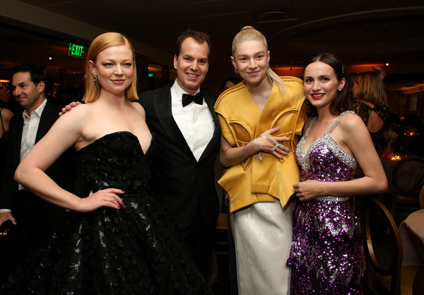 HBO's Official Golden Globes After Party - Red Carpet [dress,event,fashion,formal wear,lady,haute couture,gown,fun,prom,smile,maude apatow,hunter schafer,sarah snook,casey bloys,l-r,california,golden globes,hbo,party,red carpet,maude apatow,hunter schafer,euphoria,sarah snook,golden globe awards,judd apatow,entertainment,hbo,actor]