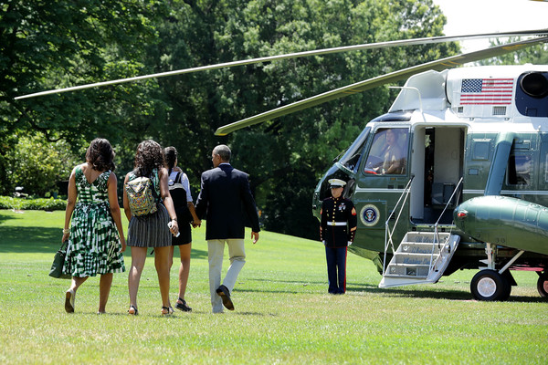 First Family Departs From White House for Weekend Trip to U.S. National Parks [vehicle,helicopter,rotorcraft,grass,aircraft,lawn,leisure,helicopter rotor,michelle obama,barack obama,daughters,sasha obama,malia obama,l-r,u.s.,white house,first family departs white house for weekend trip to u.s. national parks,anniversary]