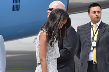Sasha Obama First Lady Michelle Obama Arrives at Malpensa Airport