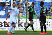 Fabio Quagliarella of UC Sampdoria celebrates after scoring his team second goal during the Serie A match between US Sassuolo and UC Sampdoria at Mapei Stadium - Citta' del Tricolore on March 16, 2019 in Reggio nell'Emilia, Italy.