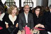 (L-R) Eva Ionesco, Christian Louboutin and Valerie Lemercier attend the Schiaparelli Haute Couture Spring Summer 2016 show as part of Paris Fashion Week on January 25, 2016 in Paris, France.
