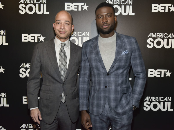 BET American Soul NYC Screening Event [suit,premiere,event,facial hair,outerwear,formal wear,tuxedo,style,brand,new york city,bet american soul nyc screening event,scott mills,sinqua walls]