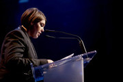 Honoree Megan Ellison accepts the Patron of the Artists Award onstage during the Screen Actors Guild Foundation 30th Anniversary Celebration at Wallis Annenberg Center for the Performing Arts on November 5, 2015 in Beverly Hills, California.
