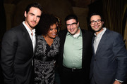 (L-R) Actors Colin O'Donoghue and Yvette Nicole Brown with exec producers Adam Horowitz and Edward Kitsis attend the Screening Of ABC's 'Once Upon A Time' Season 4 after Party at the Roosevelt Hotel  on September 21, 2014 in Hollywood, California.