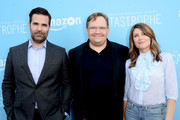 """(L-R) Actors Rob Delaney, Andy Richter, and Sharon Horgan arrive at the screening of Amazon's """"Catastrophe"""" Season 2 at The London Hotel on April 3, 2016 in West Hollywood, California."""