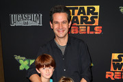 """Actor Simon Kinberg (C) and his family attend the Screening of Disney XD's """"Star Wars Rebels: Spark of Rebellion"""" at the AMC Century City 15 theater on September 27, 2014 in Century City, California."""