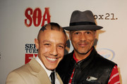 """Actors Theo Rossi (L) and David LaBrava arrive at a screening of FX's """"Sons of Anarchy"""" at the Cinerama Dome Theater on August 30, 2011 in Los Angeles, California."""