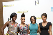 Dame Kelly Holmes with guests (L-R) Lashana Lynch, Dominique Tipper and Lenora Crichlow at her private screening of Fast Girls with the Women's Sports and Fitness Foundation', which was attended by members of the cast and athletes from the Aviva 'On Camp with Kelly' program, at The Mayfair Hotel on May 28, 2012 in London, England.