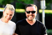 """Actor Ricky Gervais and wife Jane Fallon arrives for the screening of Netflix's """"Derek"""" at Paramount Studios on April 8, 2015 in Hollywood, California."""