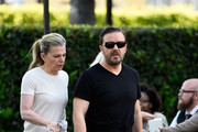 """Actor Ricky Gervais and wife Jane Fallon arrive for the screening of Netflix's """"Derek"""" at Paramount Studios on April 8, 2015 in Hollywood, California."""