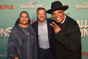 """Justine Simmons, Ted Sarandos and Rev Run attend a screening of Netflix's """"All About The Washingtons"""" at Madera Kitchen & Bar on August 8, 2018 in Hollywood, California."""