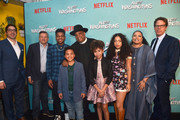 """Jeremy Bronson, Ted Sarandos, Nathan Anderson, Maceo Smedley, Rev Run, Leah Rose Randall, Kiana Lede', Justine Simmons and Andrew Reich attend a screening of Netflix's """"All About The Washingtons"""" at Madera Kitchen & Bar on August 8, 2018 in Hollywood, California."""