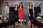 """(L-R) Executive producer Roman Coppola, actors Malcolm McDowell, Bernadette Peters, actors Lola Kirke, Gael Garcia Bernal, Saffron Burrows and executive producer Paul Weitz pose onstage during the Screening and Q&A for Amazon's """"Mozart In The Jungle"""" at Hollywood Roosevelt Hotel on April 21, 2016 in Hollywood, California."""