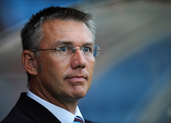 Nigel Adkins Nigel Adkins of Scunthorpe United looks on during the Pre Season Friendly between Scunthorpe United and Wolverhampton Wanderers at Glanford Park on August 4, 2009 in Scunthorpe, England.