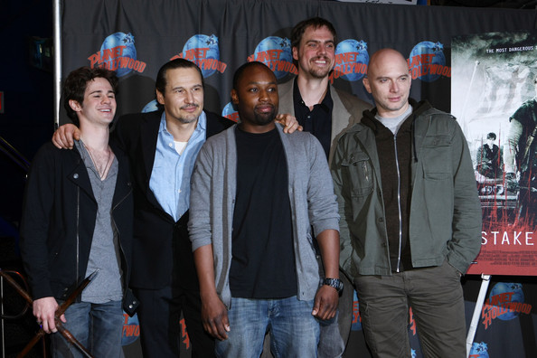 """Stake Land"" Cast Visits Planet Hollywood Times Square [social group,event,team,performance,premiere,crowd,jim mickle,michael cerveris,actors,connor paolo,nick damici,sean nelson,l-r,planet hollywood times square,new york city,stake land cast visits planet hollywood times square]"