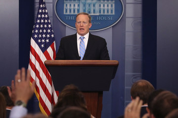 Sean Spicer White House Press Secretary Sean Spicer Holds Daily Briefing  Without TV Coverage