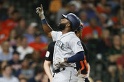 Denard Span #4 of the Seattle Mariners celebrates a second inning home run against the Houston Astros at Minute Maid Park on August 9, 2018 in Houston, Texas.
