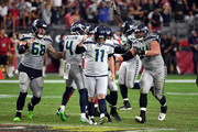 Kicker Sebastian Janikowski #11 of the Seattle Seahawks celebrates after kicking the game winning field goal as time expired in the fourth quarter against the Arizona Cardinals at State Farm Stadium on September 30, 2018 in Glendale, Arizona. The Seahawks beat the Cardinals 20-17.