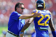 Head coach Jeff Fisher of the Los Angeles Rams attends warm ups before the start of the home opening NFL game against the Seattle Seahawks at Los Angeles Coliseum on September 18, 2016 in Los Angeles, California.