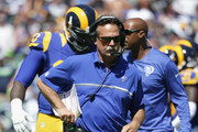 Head coach Jeff Fisher of the Los Angeles Rams walks along the sidelines during the home opening NFL game against the Seattle Seahawks at Los Angeles Coliseum on September 18, 2016 in Los Angeles, California.