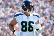 Jimmy Graham #88 of the Seattle Seahawks comes to the line of scrimmage during the second quarter of the home opening NFL game between the Los Angeles Rams and the Seattle Seahawks at Los Angeles Coliseum on September 18, 2016 in Los Angeles, California.