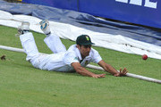 Imran Tahir of South Africa fields on the boundary during day 3 of the 2nd Sunfoil Test match between South Africa and Sri Lanka at Sahara Park Kingsmead on December 28, 2011 in Durban, South Africa.